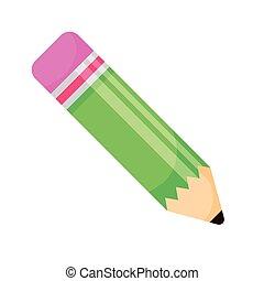 dostarczać, ołówek, zielony, kolor, odizolowany, szkoła, ikona