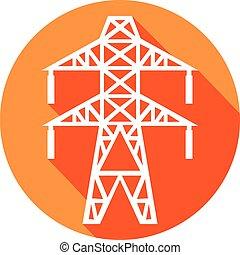 dostarczcie energii elektrycznej linę, ikona, płaski