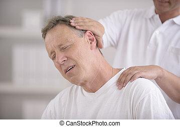 dostosowanie, kręgarz, szyja, chiropractic: