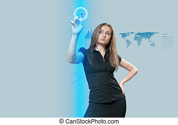 dotyk, interfejs, przyszłość, -, zbiór