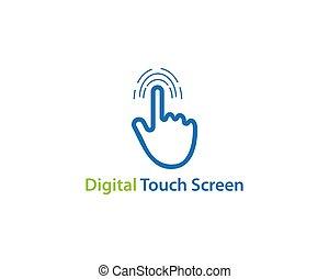 dotyk, logo, technologia, cyfrowy