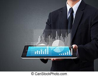 dotyk, wykres, ekran, tabliczka
