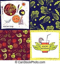 dowcip, tło, komplet, kolor, kawiarnia, menu, restaurant., ilustracja