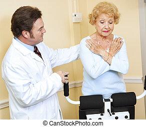 dozorowany, doktor, terapia, fizyczny