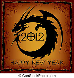 dragon., czarnoskóry, rok, nowy, karta, 2012
