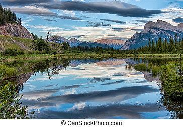 dramatyczny, chmury, odbicie, vermilion, jezioro