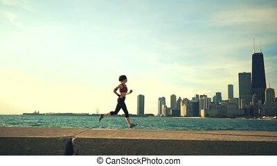 drapacze chmur, biegacz, atleta, wybrzeże, wyścigi, tło