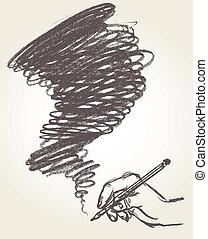 drawing., ołówek, wektor, ilustracja
