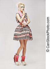 dress., bzik, kobieta, modny, zdumienie, fason, style., zdziwiony