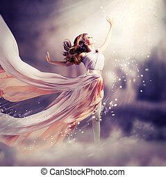 dress., dziewczyna, chodząc, szyfon, kaprys, scena, długi, piękny