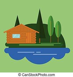 drewna, kabina