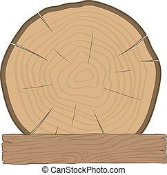 drewniana deska, kloc, budulec, etykieta