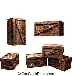 drewniana paka, (vector)