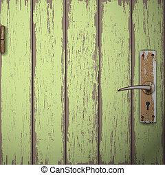 drewniane drzwi, stary, tło