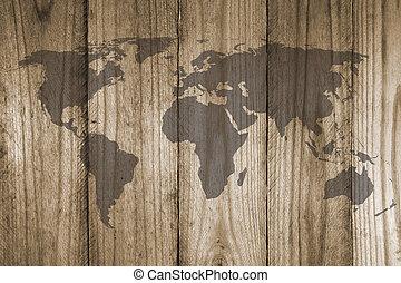 drewniany, świat, struktura, mapa