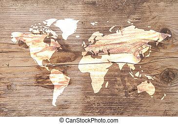 drewniany, świat, tło, mapa