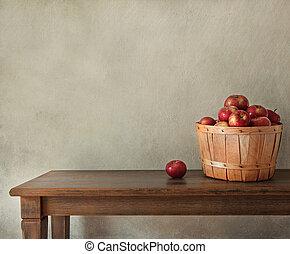 drewniany, świeże jabłka, stół