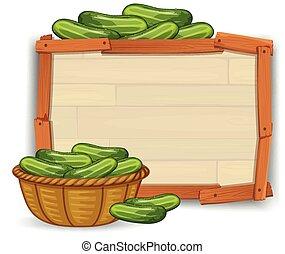 drewniany, chorągiew, ogórek
