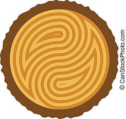 drewniany, cięty, kloc, wektor