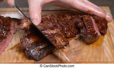 drewniany, concept., cięcie, stać, gotowanie, deska, mięso