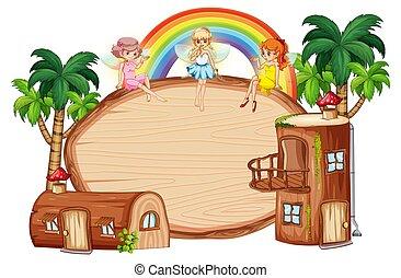 drewniany dom, chorągiew, kloc
