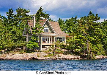 drewniany domek, jezioro