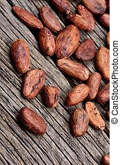 drewniany, dużo, fasola, kakao, stół