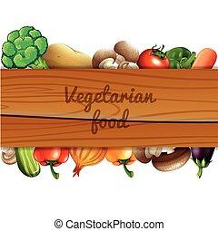 drewniany, dużo, warzywa, znak