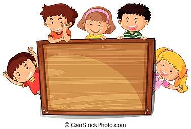 drewniany, dzieciaki, deska
