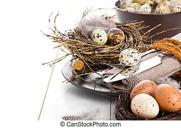 drewniany, jaja, ozdoba, tło, lękać się, stół, biały