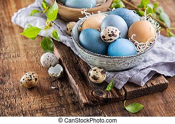 drewniany, jaja, wielkanoc, powierzchnia, barwny