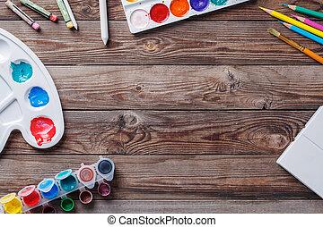 drewniany, jakiś, papier, malować, akwarele, szczotka, stół, sztuka, materiał