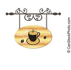 drewniany, kawa, znak, fałszowanie, filiżanka