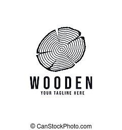 drewniany, kloc, drzewo, cięty, wektor, logo, ilustracja, projektować