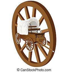drewniany, koło, wóz