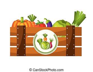 drewniany, kosz, warzywa, wypełniony, świeży