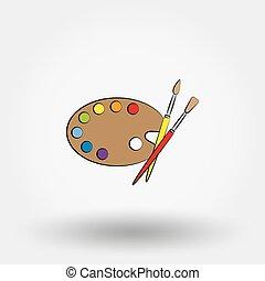 drewniany, malatura, paleta, sztuka, brushes.