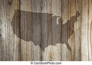 drewniany, mapa, stany, zjednoczony, tło