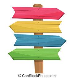 drewniany, marszruta, wektor, znak