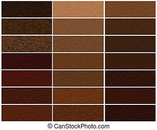 drewniany, materiały, komplet, wektor
