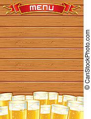 drewniany, menu., knajpa, wektor, tło, czysty