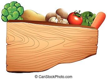 drewniany, mieszana zielenina, znak