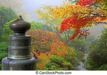 drewniany most, ogród, finial, japończyk