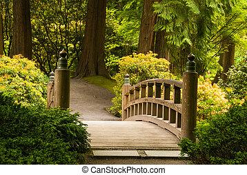 drewniany most, ogrodowa japonka