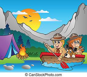 drewniany, obóz, łódka, wywiadowcy