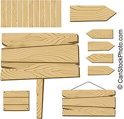 drewniany, obiekty, deska, znak