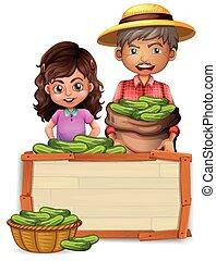 drewniany, ogórek, deska, dzierżawa, rolnik