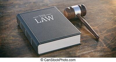 drewniany, osłona, książka, 3d, skóra, ilustracja, prawo, tło., stół