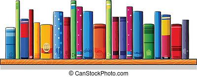 drewniany, półka, książki