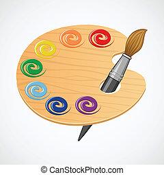 drewniany, palette., sztuka